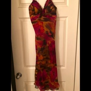 Cache bright floral chiffon party dress size 8